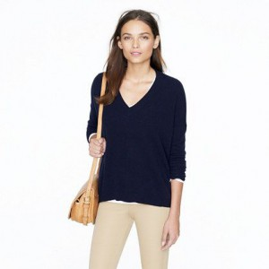 navy blue v neck
