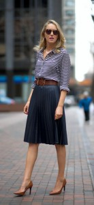 navy pleated