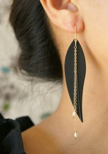 black metal feather earring