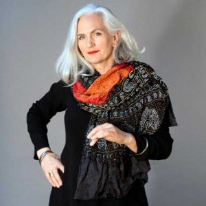 black shawl with orange