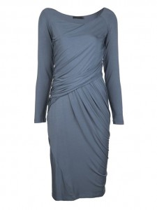 deep blue long slv draped