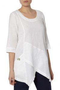 asymetric wht linen top
